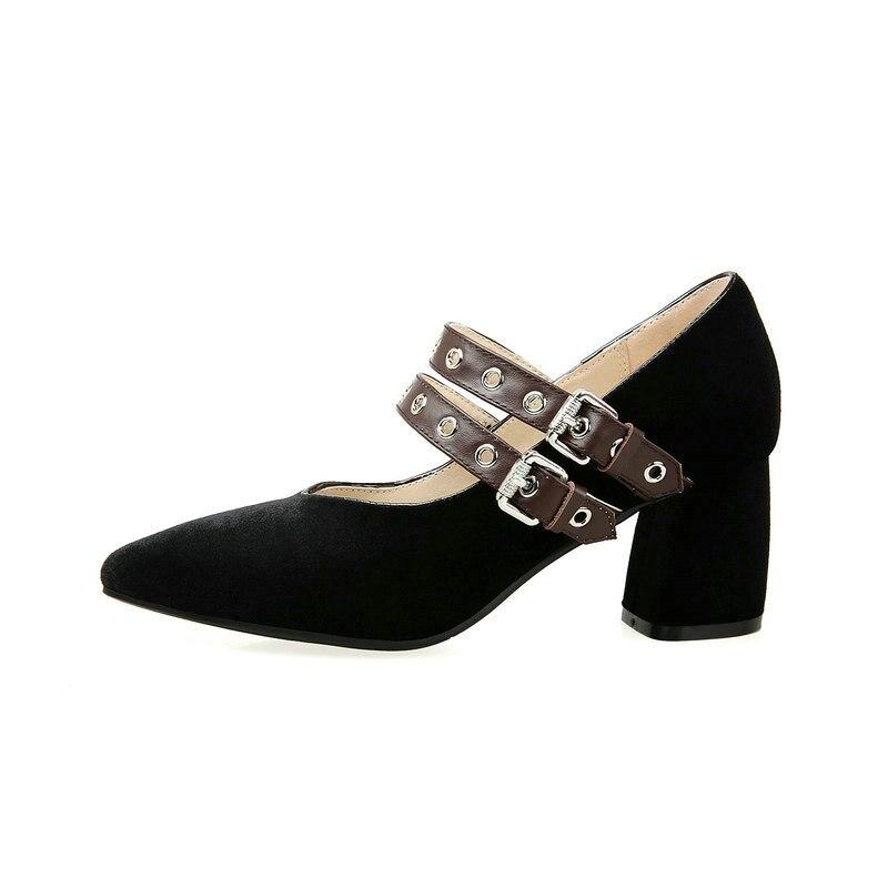 Pointu Haute Noir Suede Véritable Femme Épais Chaussures Mode Cuir Rouge Talon Boucle Robe vin Noir En Faux Confort Haut Pompes Semelle Bout Intérieure 4RxcY7