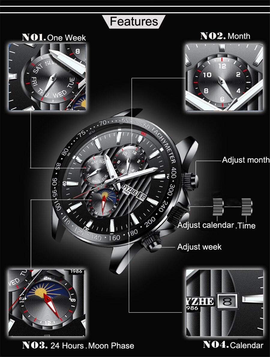 Լուսնի փուլ Արծաթե բիզելի մասշտաբի - Տղամարդկանց ժամացույցներ - Լուսանկար 4