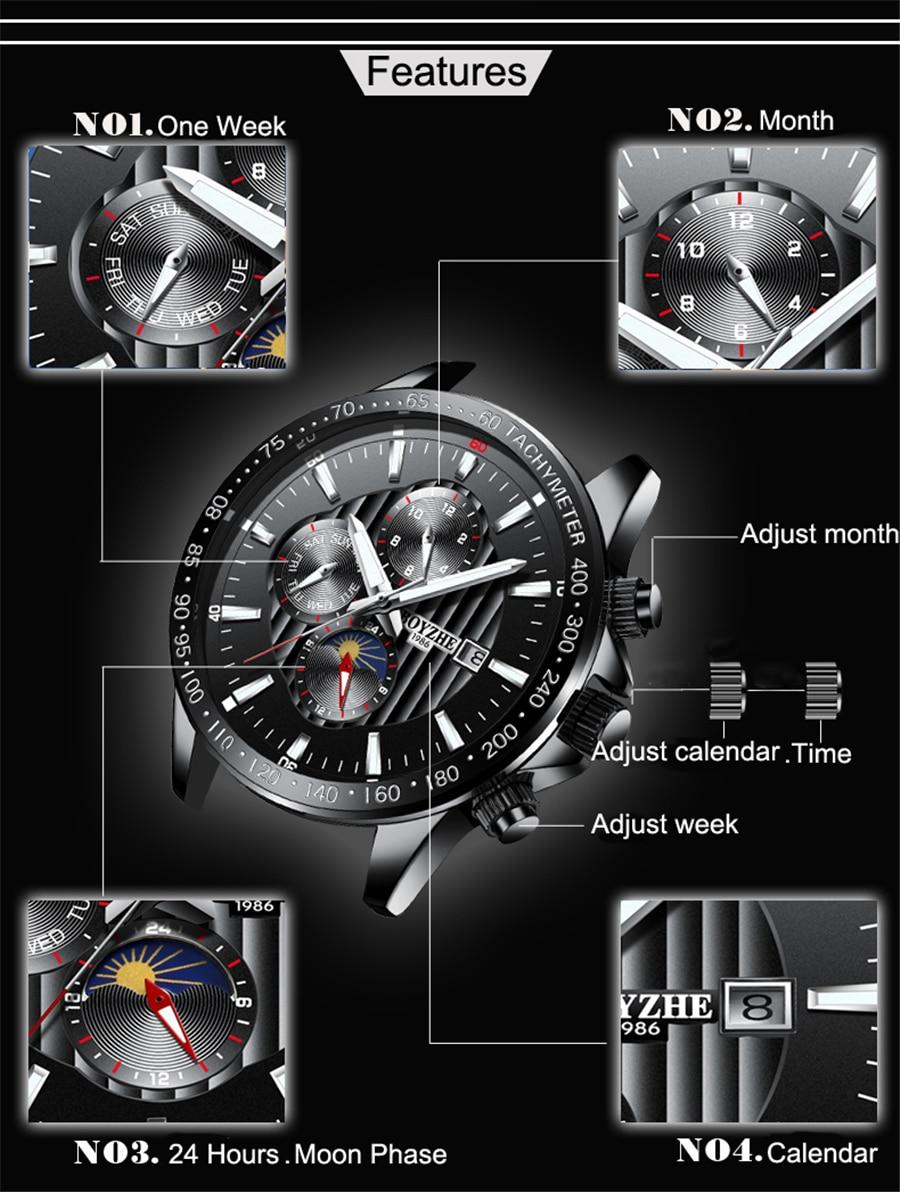 Fase de la luna Bisel de plata Dial de acero inoxidable para hombre - Relojes para hombres - foto 4