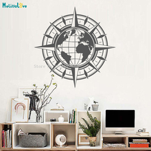 Vinyl Wall Decal Map Of World Compass Travel Globe Earth Home Decor For Living Room Posters Self-adhesive Art Murals YT895