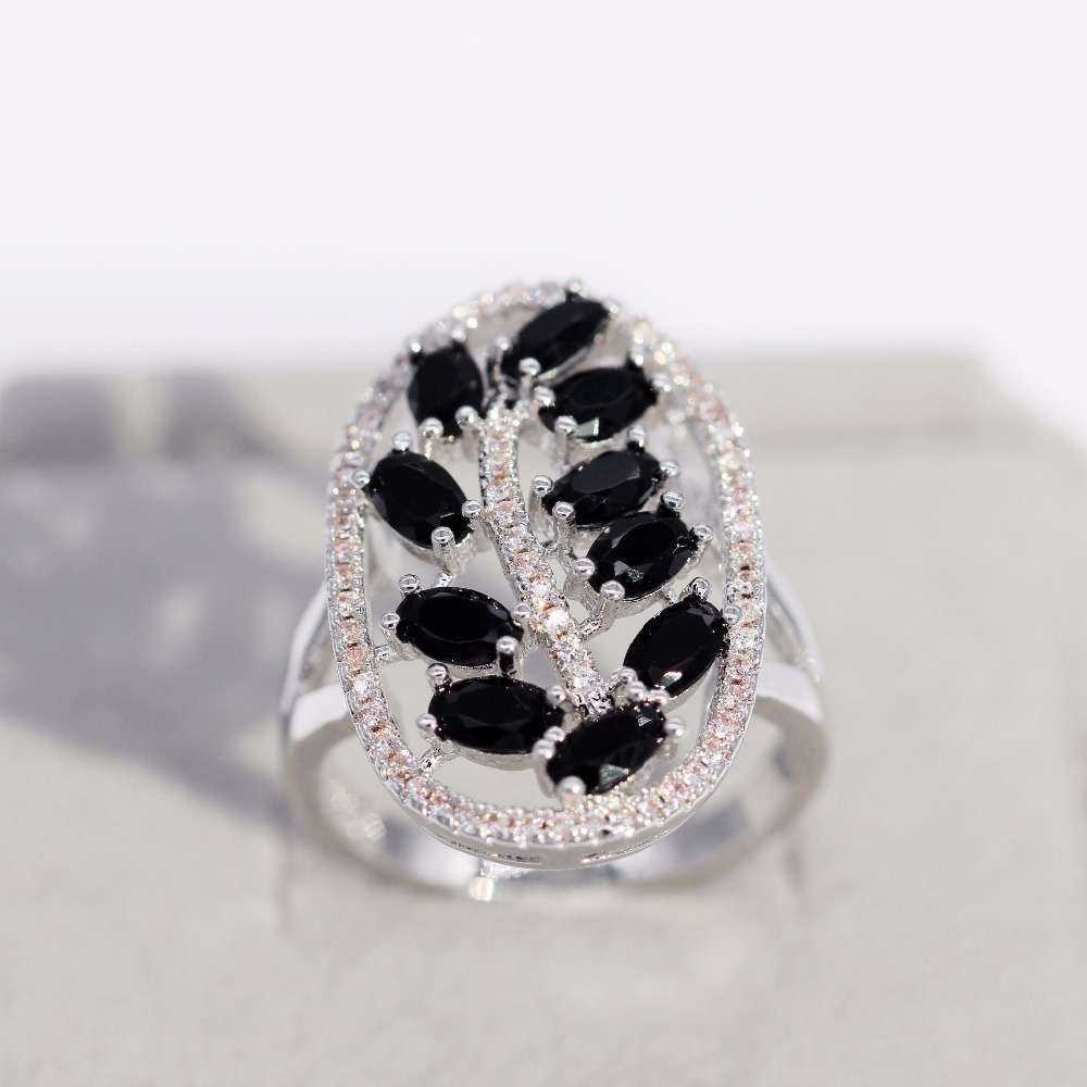 Uloveido Black Leaf Engagement Rings for Women Wedding Ring Female Jewellery Womens New Year Gifts Party Decorating Party PJ105