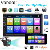 VODOOL 2Din 7018B 7 Touch Screen In Dash Bluetooth Car MP5 Player FM Radio Audio 1080P Video Media Player With Rear View Camera