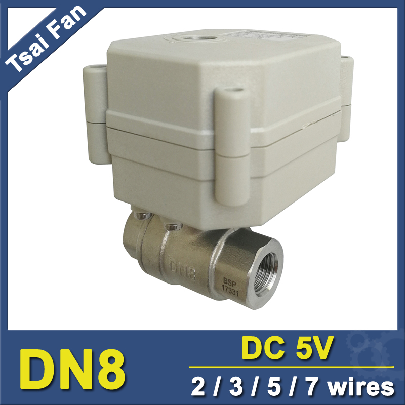 Hot Sales TF8-S2-C 2/3/5/7 Wires DN8 Motorized Ball Valve BSP/NPT 1/4'' SS304 Electric Ball Valve For Water Saving Irrigation