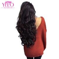 Yelo Hair Brazilian Body Wave Lace Closure Free Part Non Remy 3 Bundles Hair Weave Natural