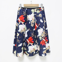 Hermicci Medi Skirt 2017 Winter Women Fashion Zipper High Waist Vintage Flower Printed Pleated Skirt High