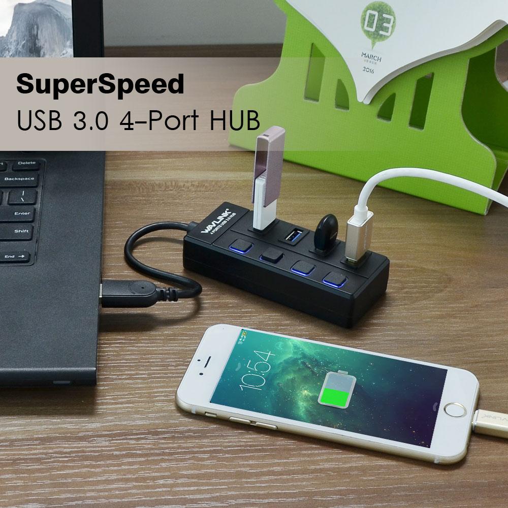 Wavlink hordozható USB 3.0 Hub 4-portos Super Speed 5Gbps USB - Számítógép-perifériák - Fénykép 3