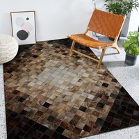 High quality Cowhide Patchwork Rug leather geometric mosaic rugs living room entrance hall stitching cow fur carpet