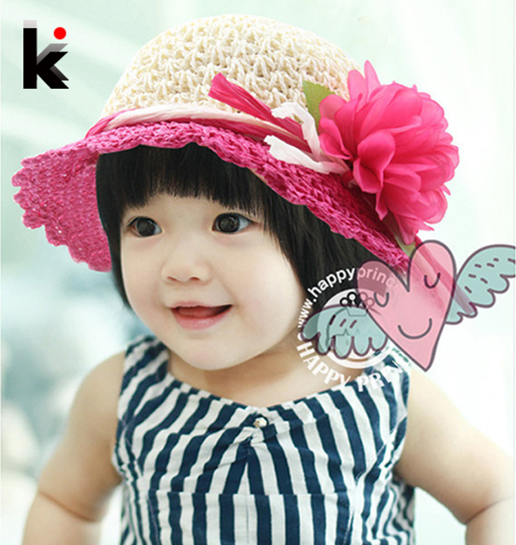 2018 Free Shipping fashion Children hats for girls Beach Hat Flower Cap Kids Straw hat Childrens Summer Sun caps 5 colors 1