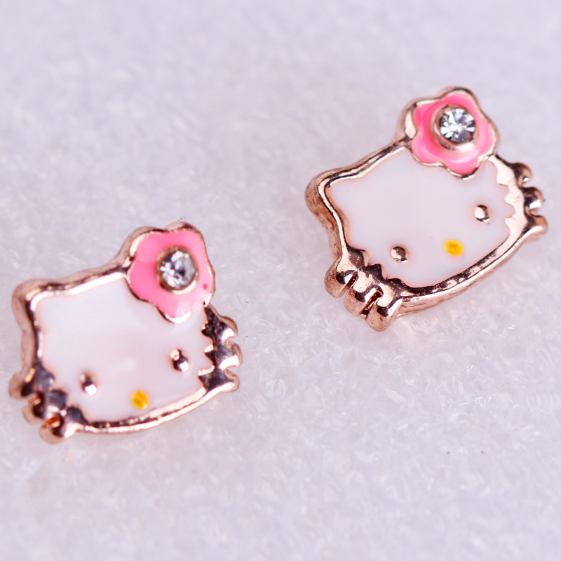 2 styles Lovely Gold Color Cute Hello Kitty Earrings For Girls ...