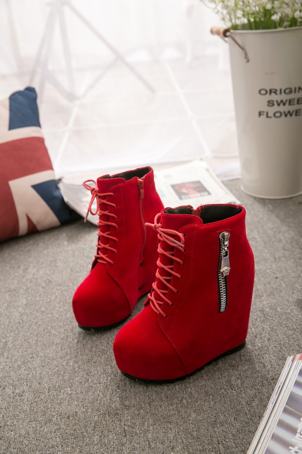 Punk woman gothic Lace Up Wedge High Heel platform Creeper round toe Zip Side Ankle Boots shoes For Women Red Black