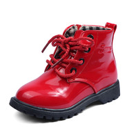 Child Leather Boots Female Child Martin Boots Boys Shoes Single Shoes Little Girl Spring Baby