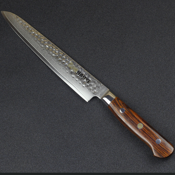HAOYE 8 inch Damascus vg10 steel slicing knife kitchen knives Forged Hammered ultra sharp Full Tang Rosewood Handle