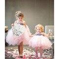 Shabby Flor Vestido de Niña Arco de La Cinta Princesa Kid Partido Boda Del Desfile de Dama de Honor Vestidos Del Tutú Rosa de Lujo vestido de Bola PT188