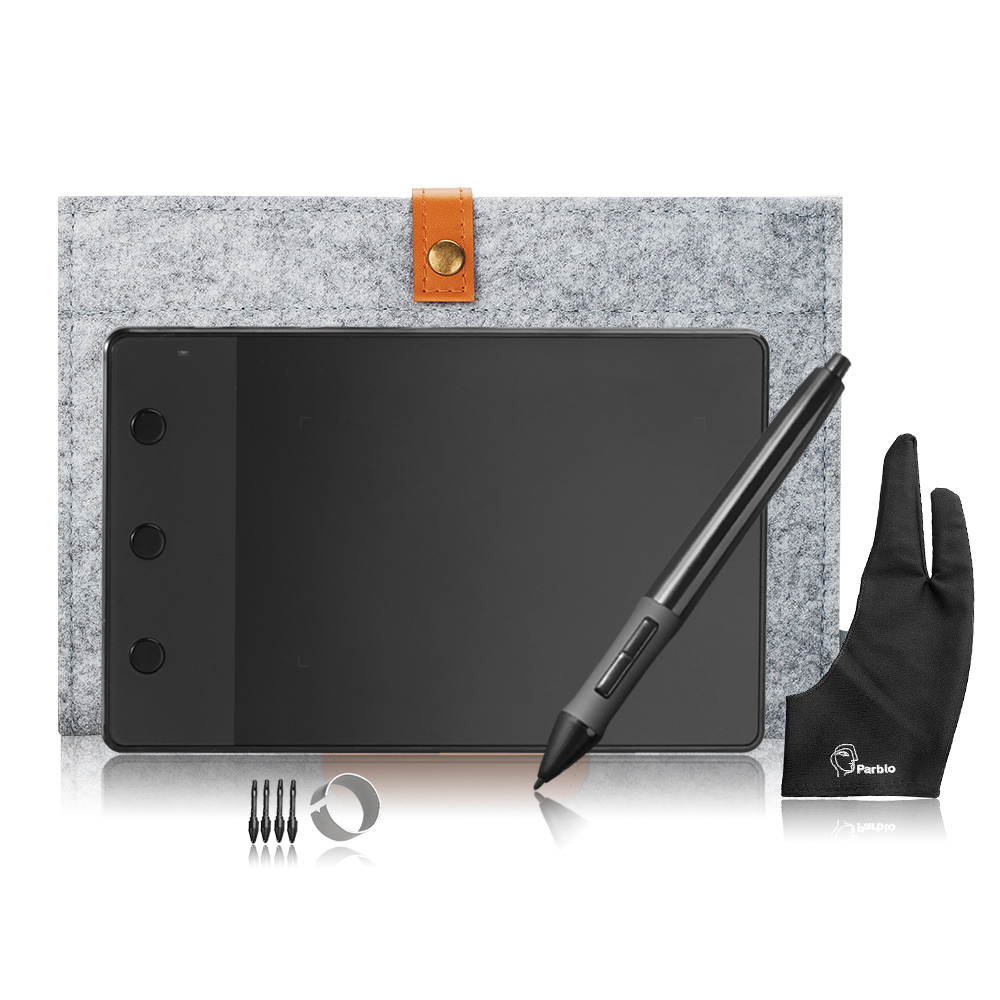 Huion H420 4 х 2,23 подпись графический планшет + 10 дюйм(ов) шерстяная подкладка сумка + два пальца противообрастающих перчатки как подарок
