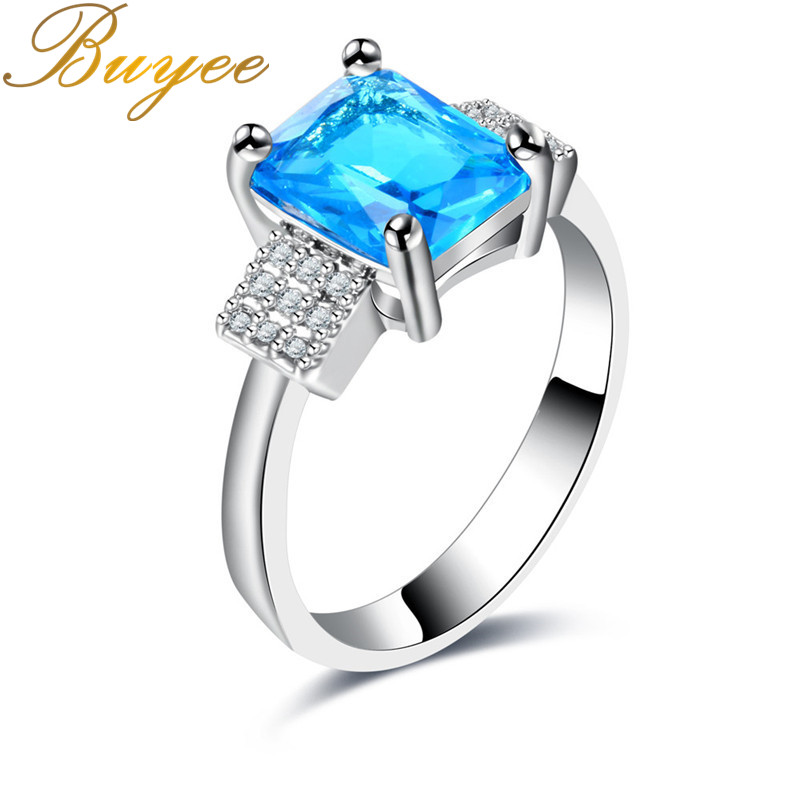 BUYEE Unique Antique Ring for Women Trendy Jewelry Bagues Water Blue Square Stone Anillos Mujer Ring