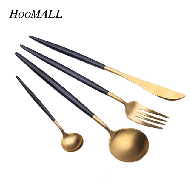 Hoomall 4Pcs/Set Stainless Steel Dinnerware Set Cutlery Dinner Tableware Kitchen  Accessories Western Fork Set