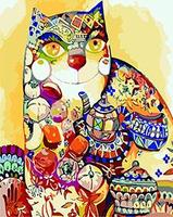 MaHuaf X970 Abstract Cat Animal Hand Painted Canvas Oil Painting By Numbers Digital Coloring By Numbers