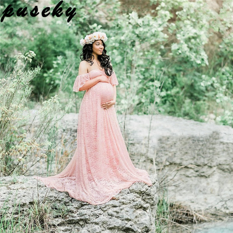 Puseky Maternity Photography Props Pregnant Dress Lace Robe Off Shoulder Ruffles Fancy Maxi Maternity Gown Women Long Dress