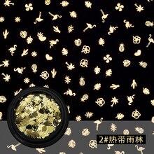 100pcs Blue Zoo nail art decoration Ultrathin metal sheet flakes music moon star flower mix shape hollow sticker BZ116