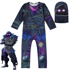 Image 3 - Kids Boys Skull Trooper Raven Cosplay Jumpsuit Halloween Party Costume Battle Royal Children Carnival Purim Clothes Set  4 18 Y
