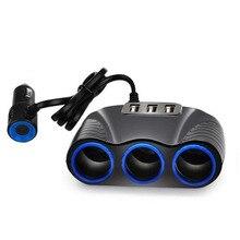 цена на New Auto Sockets Car Cigarette Lighter Adapter 3 Way Lighter Splitter Lighter 5V 3.1A Output Power 3 USB Car Charger 12V/24V