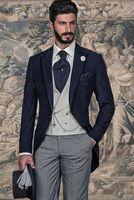 2017 Последние Пальто Пант дизайн итальянский Темно синие серое утро мужской костюм Slim Fit 3 предмета смокинг на заказ жениха Пром Блейзер masculino