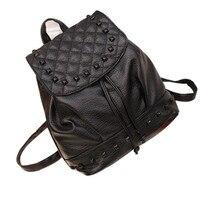 2017 New Fashion Women Girl Rivet Leather Backpacks Travel S Satchel Rucksack Big Capacity School Bags