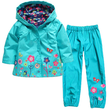 Girls Clothing Raincoat Sets Autumn Baby Casual Hoodie Jackets Pants Kids Spring Sport Suit Children Waterproof Coat Outfit 1