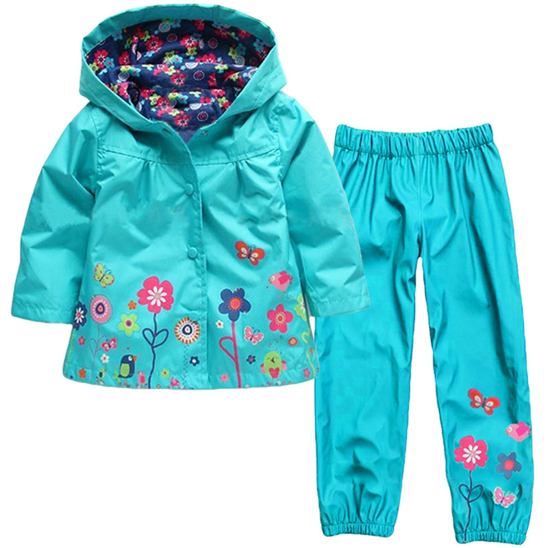 Girls Clothing Raincoat Sets Autumn Girls Clothes Set Hoodie Jackets Pants Kids Clothes Sport Suit Children Waterproof Coat