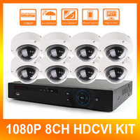 2.0MP 8Ch Sistema CVI HD IR 10 m a prueba de Vandalismo Al Aire Libre 8 canal 1080 P HDCVI Cámara Domo Kit Sistema de Vigilancia de Seguridad CCTV DVR