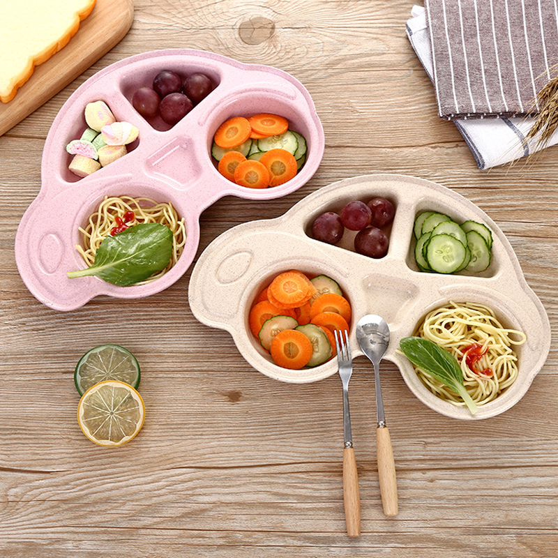 Toddler Infant Baby Dishes Cartoon Car Dishes Environmentally Separated Children's Food Plates Kids Dinnerware Tableware Tray