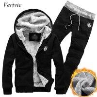 Vertvie Winter Thick Men Sports Suits Tracksuit Hoodie Sportswear Zipper Fleece Hooded Jackets Elastic Waist Pants