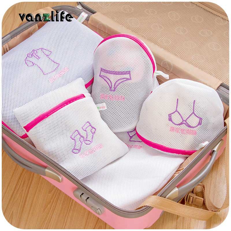 5pcs/vanzlife Japanese embroidery thicken fine mesh laundry bag bra underwear suit special care wash bags wash bag
