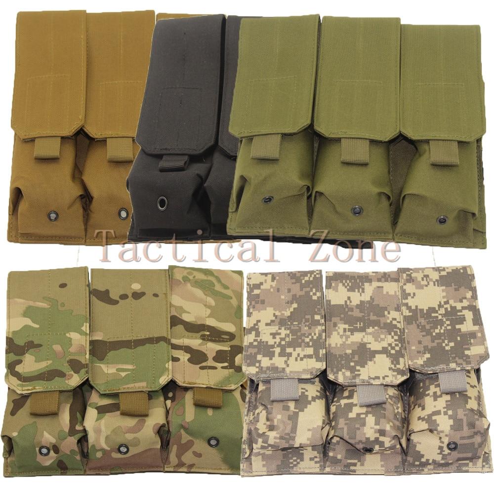 Caça tático molle cinto ar15 m4 5.56mm. 223 triplo mag compartimento bolsa airsoft acessórios ao ar livre preto tan verde camo cor