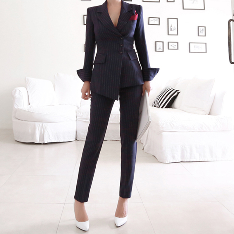 BGTEEVER Striped Irregular Pant Suits for Women Single Breasted Blazer High Waist Pencil Pant Female OL