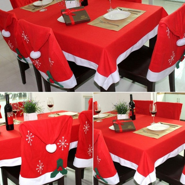 Christmas Chair Covers The Range Sunbrella Recliner Tablecloth Santa Red Hat Xmas Dinner Table Party Decoration
