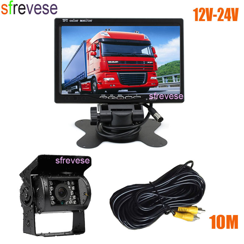 7 Car LCD Monitor Waterproof 18 IR Vehicle Rear View Kit Reversing Parking Backup Camera for
