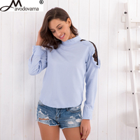 Avodovama M Spring Fashion Shoulder Casual Lace Patchwork Solid Stand Collar Tops Shirts New Women Hollow