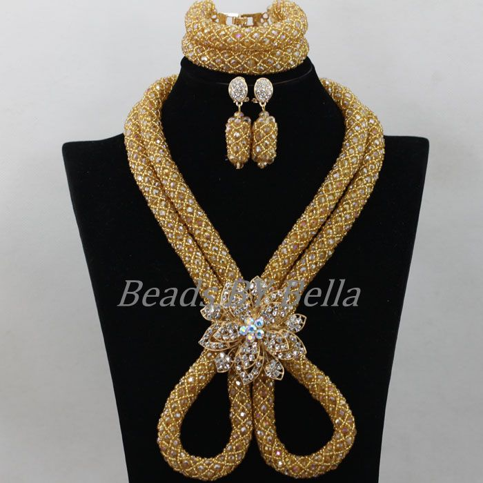 Fashion Gold Bridal Jewelry Sets Nigerian Wedding African Beads Jewelry Set Crystal Women New Necklace Set Free Shipping ABF757