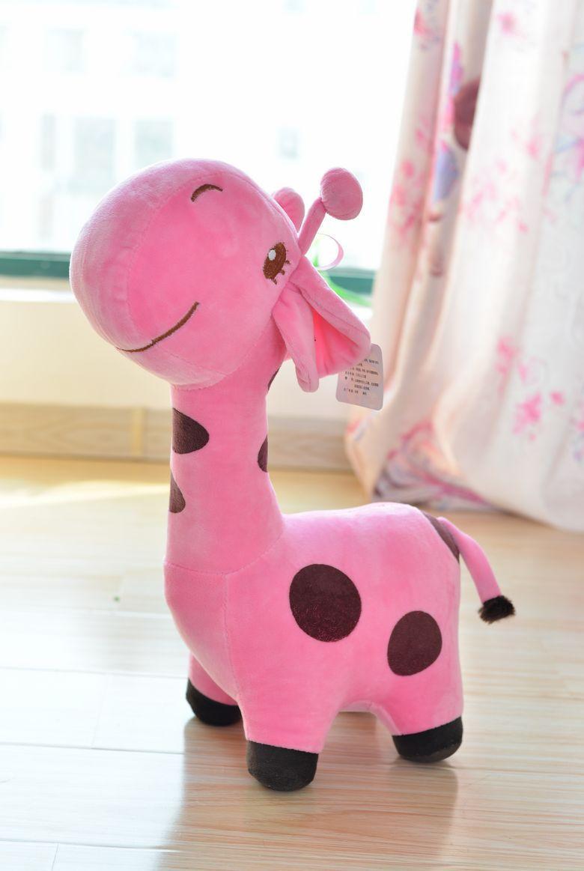 cute cartoon spots giraffe toys lovely pink giraffe plush doll birthday gift about 35cm