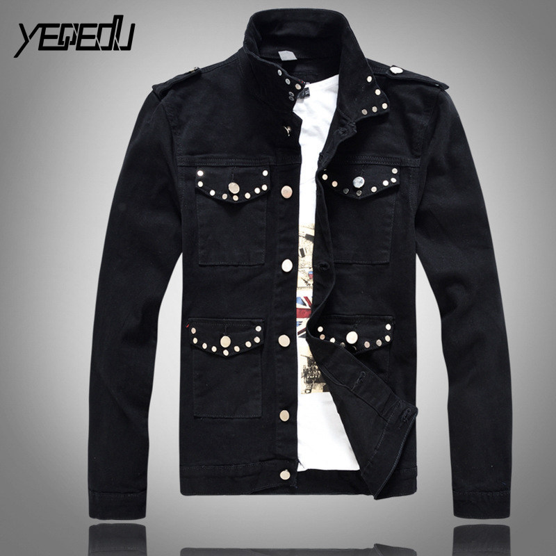#3421 Black denim jacket men Korean Fashion Slim fit Rivet Multi-pockets Veste homme Streetwear Hip hop jeans jacket Punk style