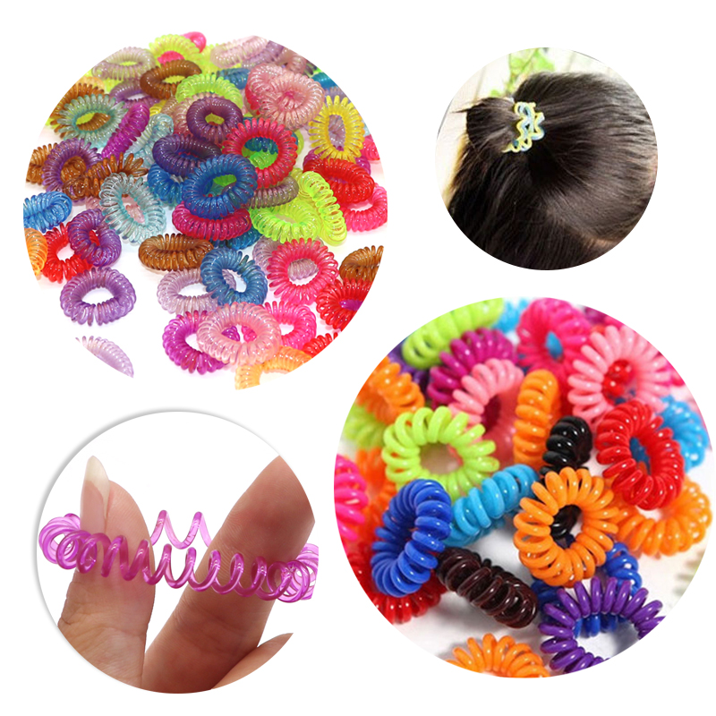 10 30 50 80 100Pcs Small Hair Ropes Girls Colorful Plastic Hair Bands Ponytail Holder Gum Telephone Wire Spiral Shape Hair Ties in Women 39 s Hair Accessories from Apparel Accessories