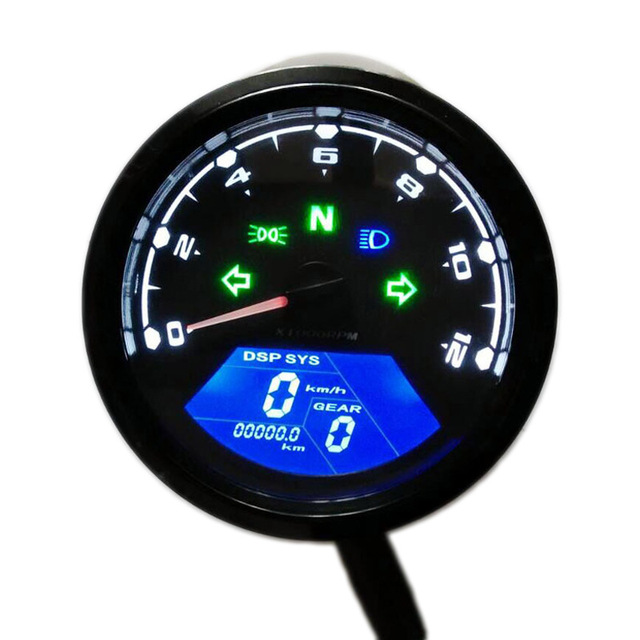 12000 rmp kmh mph universal motorcycle tachometer lcd digital odometer speedometer gear. Black Bedroom Furniture Sets. Home Design Ideas