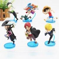 Anime One Piece Running Luffy Sanji Zoro Dracule Mihawk Buggy Shanks PVC Figures Toys 6pcs Set