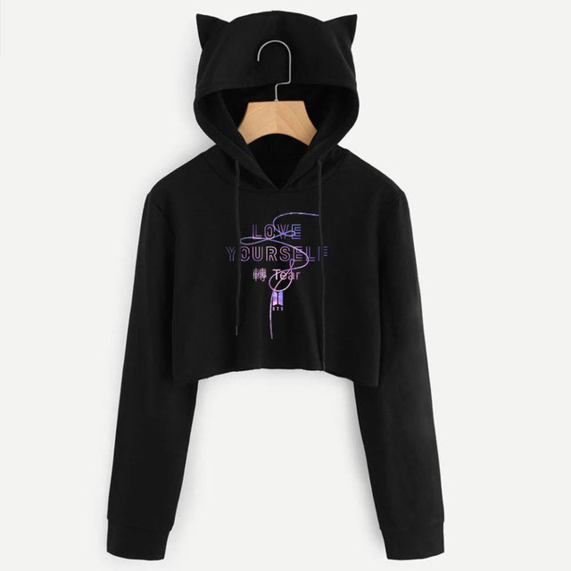 BTS Album Love Yourself Tear Fake Love Kpop Long Sleeve Cropped Hoodies Sweatshirt Women Cat Hooded Pullover Crop Tops Clothes