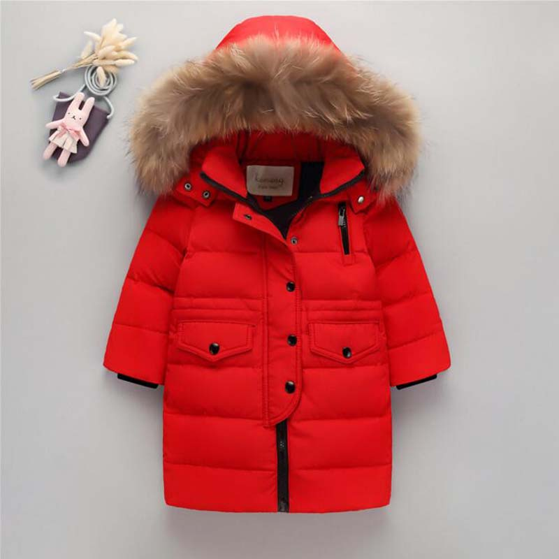 raccoon fur collar Children's white duck down jackets parkas high quality boys girls long winter coats big children down outwear недорого