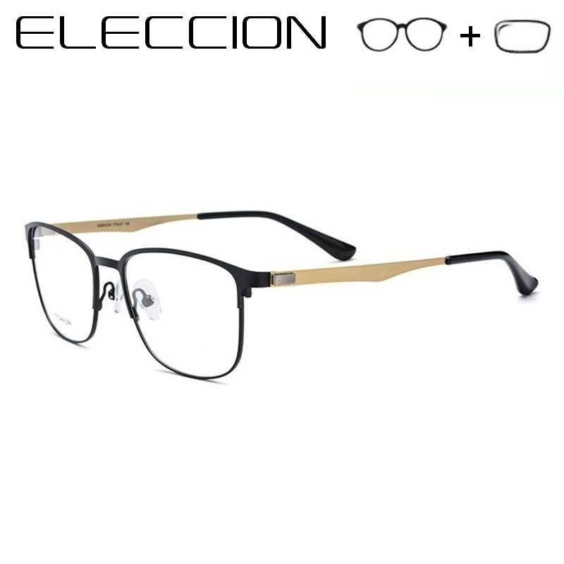 Titanium Alloy Screwless Eyewear 2018 New Male Light Metal Half Frame Gafas Graduadas Optical Myopia Prescription Eyeglasses Men