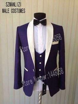 2019 Custom Made Men Wedding Suits Slim Fit Groom Formal Suit One Button Purple Tuxedo Prom Men Suit 3 Pieces Costume Homme