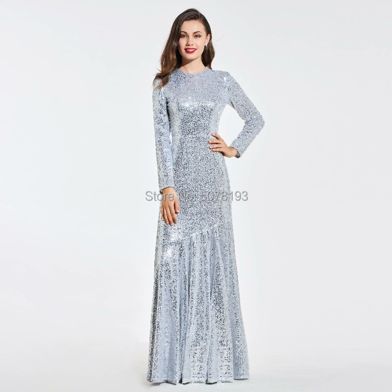 HOT SALE O-neck long sleeves natural Straight sequins lace floor-length dress/gown zipper back free shipping