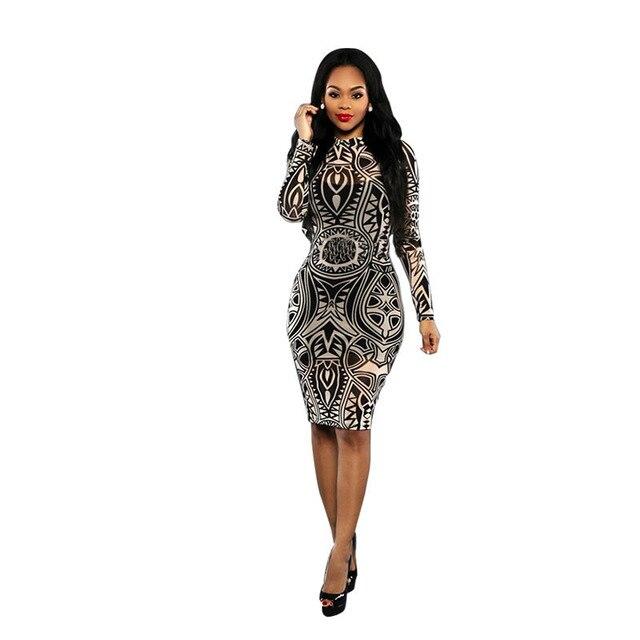 Мода sexy клуб платье 2016 новый женский лето платье повязки знаменитости печати урожай с длинным рукавом о-образным вырезом тонкий платья партии